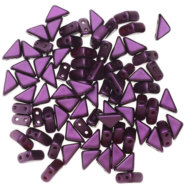Czech Glass Tango Beads, 2-Hole Triangle 4x8mm,  1 Tube, Pastel Bordeaux