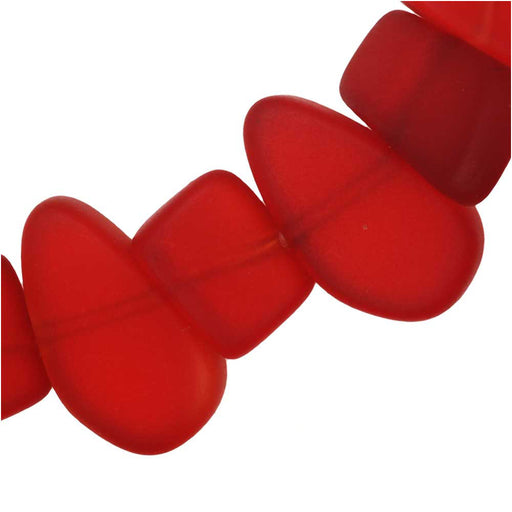 Cultured Sea Glass, Pebble Beads 6-10x8.5-14.5mm, 29 Pieces, Cherry Red