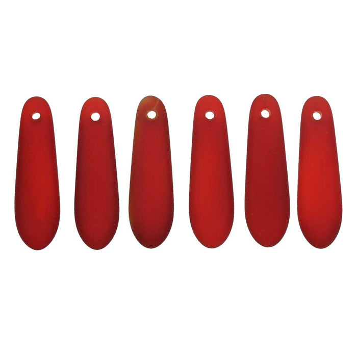Cultured Sea Glass, Elongated Teardrop Pendants 24mm, 6 Pieces, Cherry Red