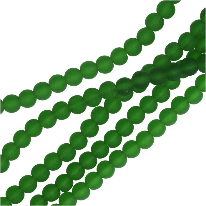 Cultured Sea Glass, Round Beads 4mm, 45 Pieces, Shamrock Green