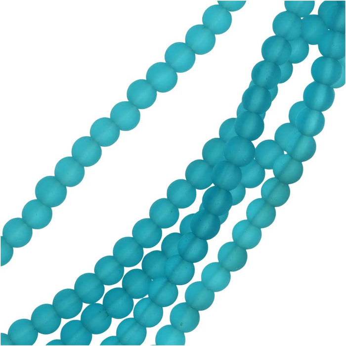 Cultured Sea Glass, Round Beads 4mm, 45 Pieces, Pacific Blue