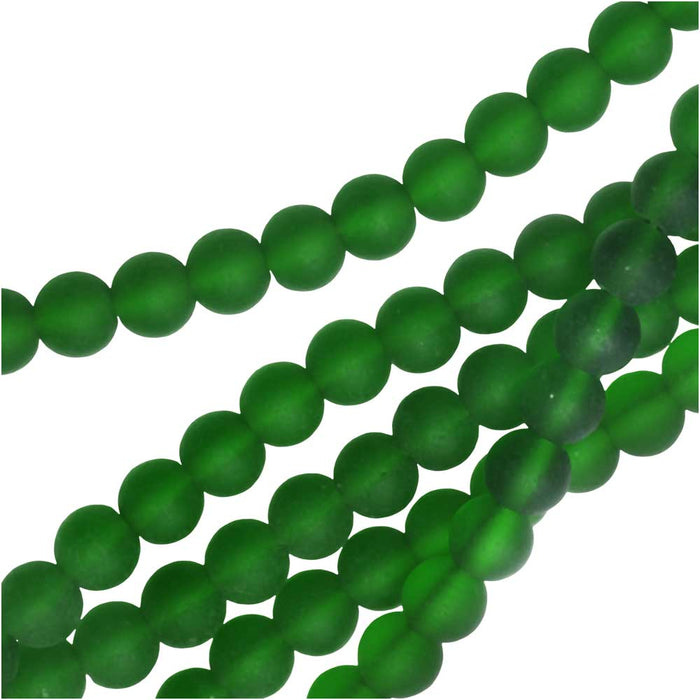 Cultured Sea Glass, Round Beads 6mm, 32 Pieces, Shamrock Green