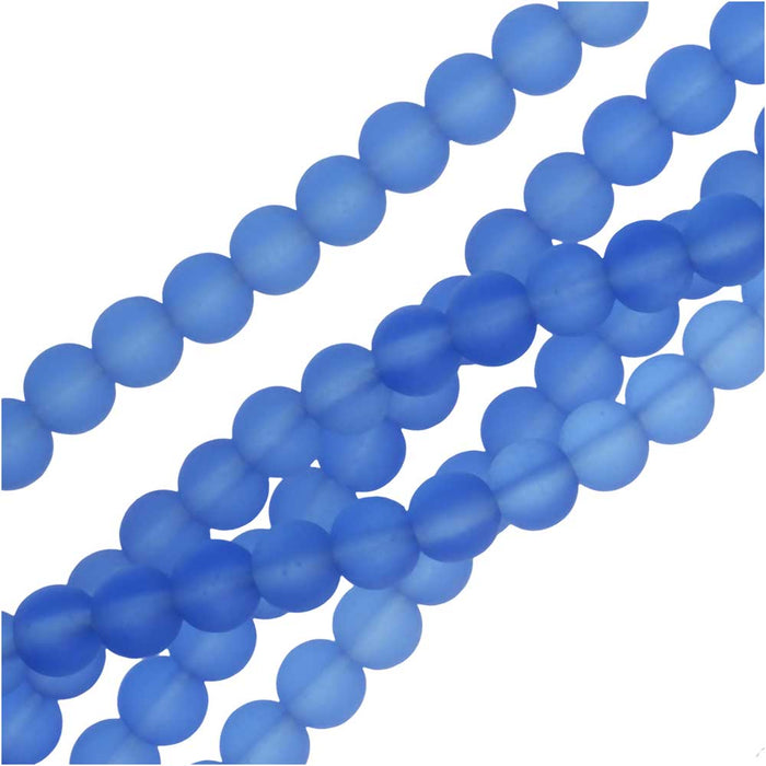 Cultured Sea Glass, Round Beads 6mm, 32 Pieces, Light Sapphire