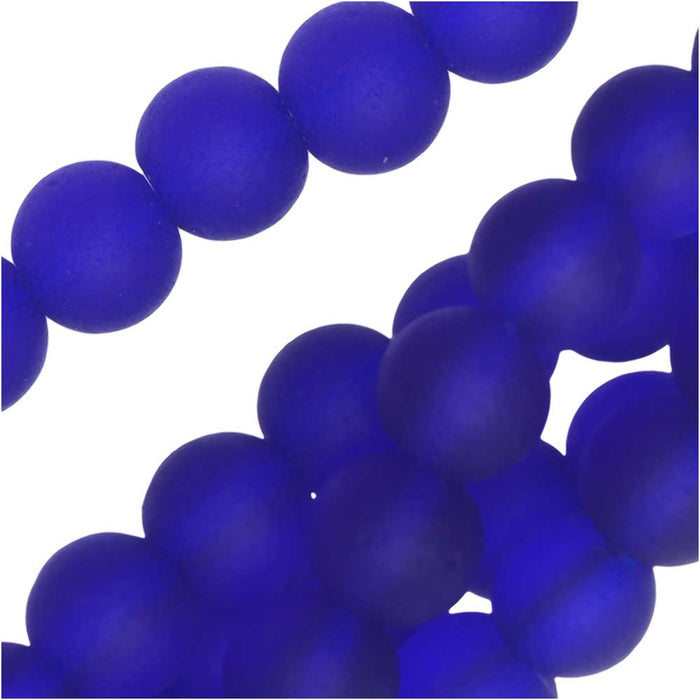 Cultured Sea Glass, Round Beads 6mm, 32 Pieces, Royal Blue