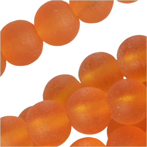 Cultured Sea Glass, Round Beads 6mm, 32 Pieces, Saffron Yellow