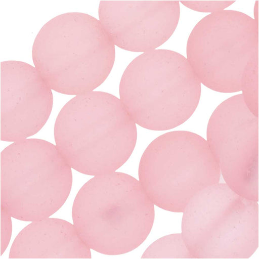 Cultured Sea Glass, Round Beads 8mm, 26 Pieces, Blossom Pink