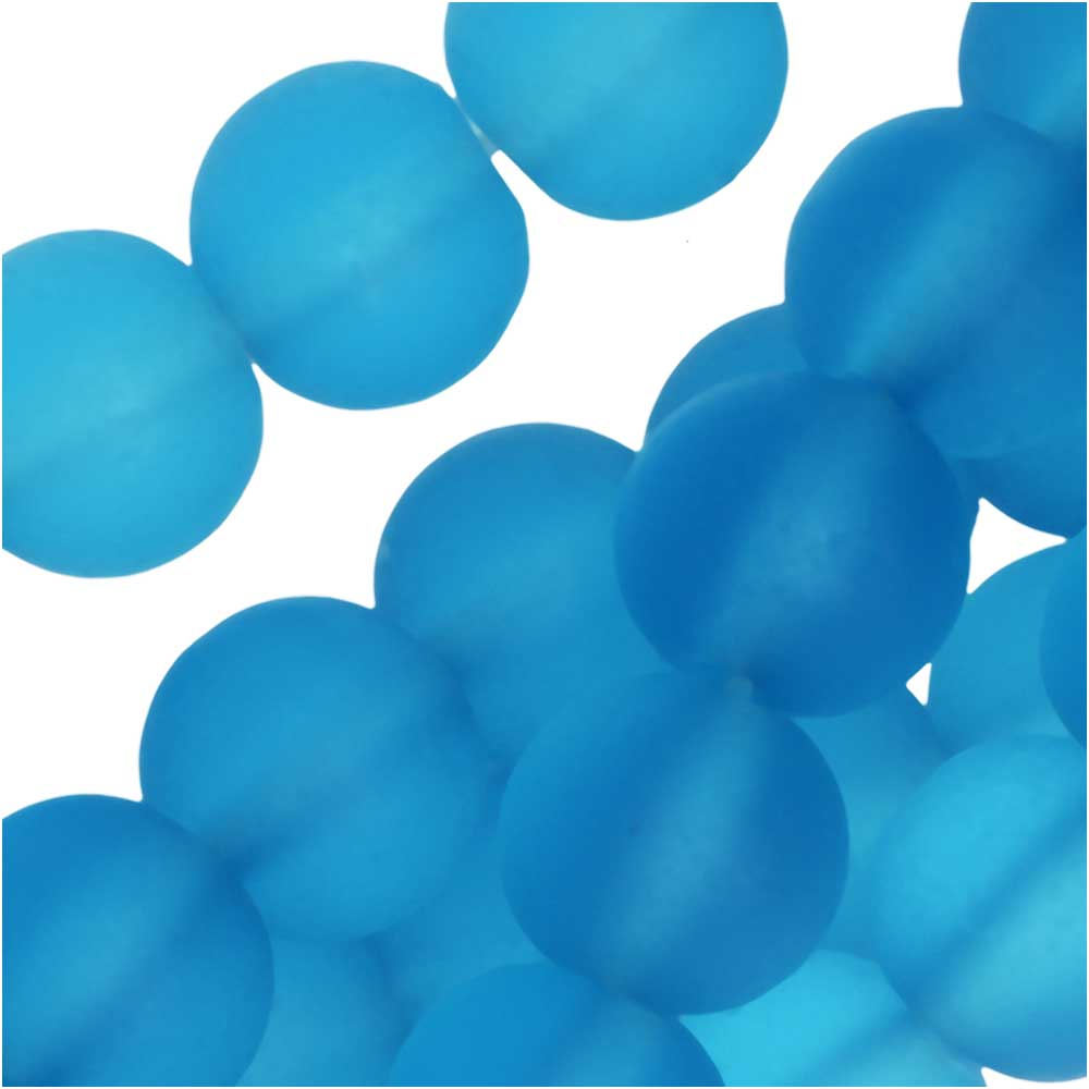 Cultured Sea Glass, Round Beads 8mm, 26 Pieces, Pacific Blue