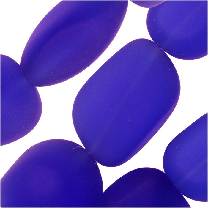 Cultured Sea Glass, Small Nugget Beads 8-16mm, 7 Pieces, Royal Blue