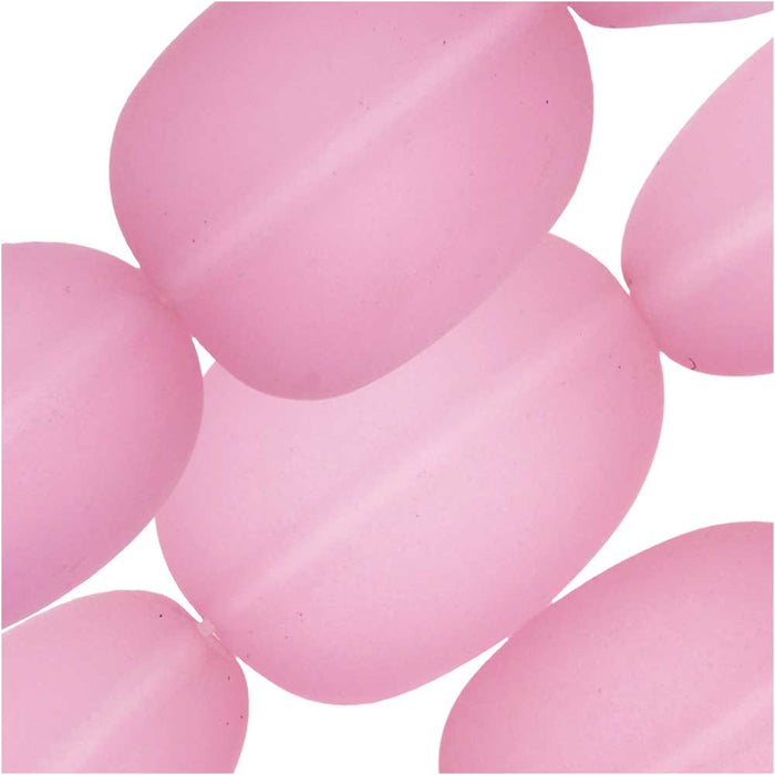 Cultured Sea Glass, Oval Nugget Beads 15-22mm, 6 Pieces, Blossom Pink