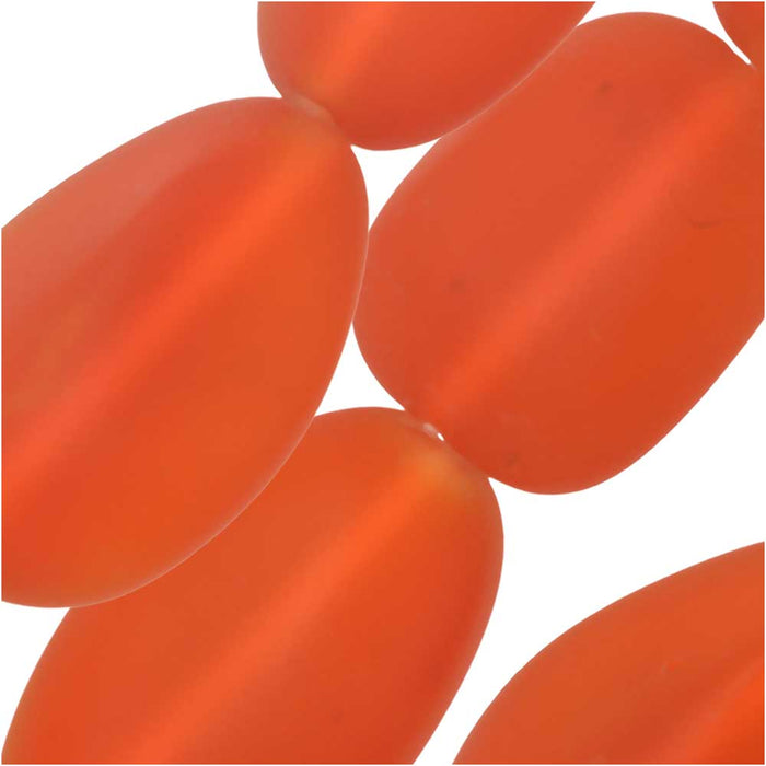 Cultured Sea Glass, Oval Nugget Beads 15-22mm, 6 Pieces, Tangerine Orange