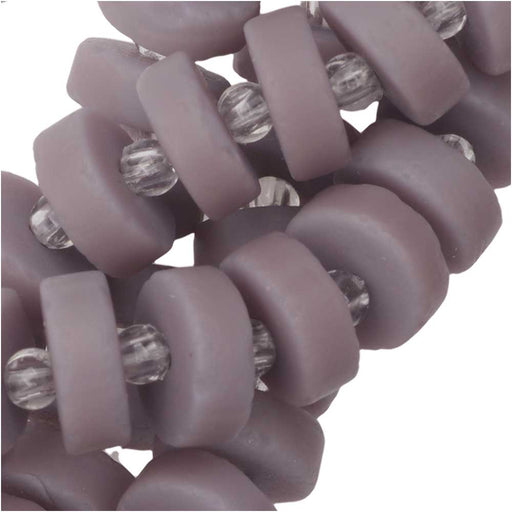 Cultured Sea Glass, Button Heishi Spacer Beads 9mm, 36 Pieces, Opaque Purple