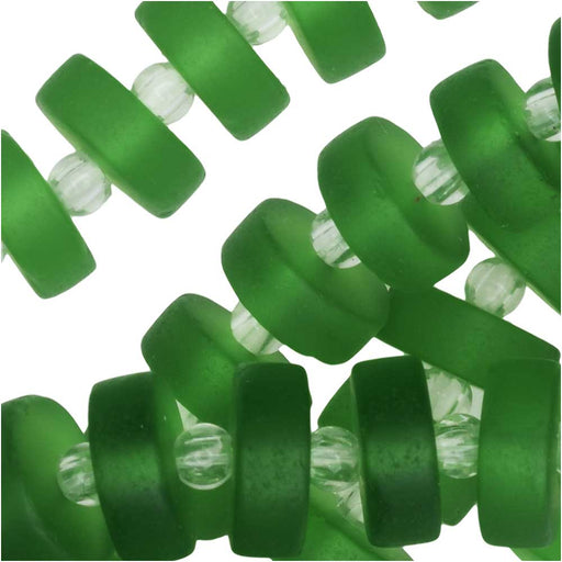 Cultured Sea Glass, Button Heishi Spacer Beads 9mm, 36 Pieces, Shamrock Green