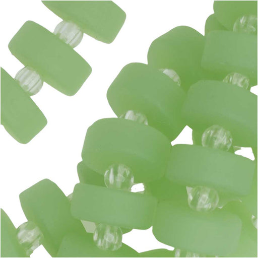 Cultured Sea Glass, Button Heishi Spacer Beads 9mm, 36 Pieces, Opaque Seafoam Green