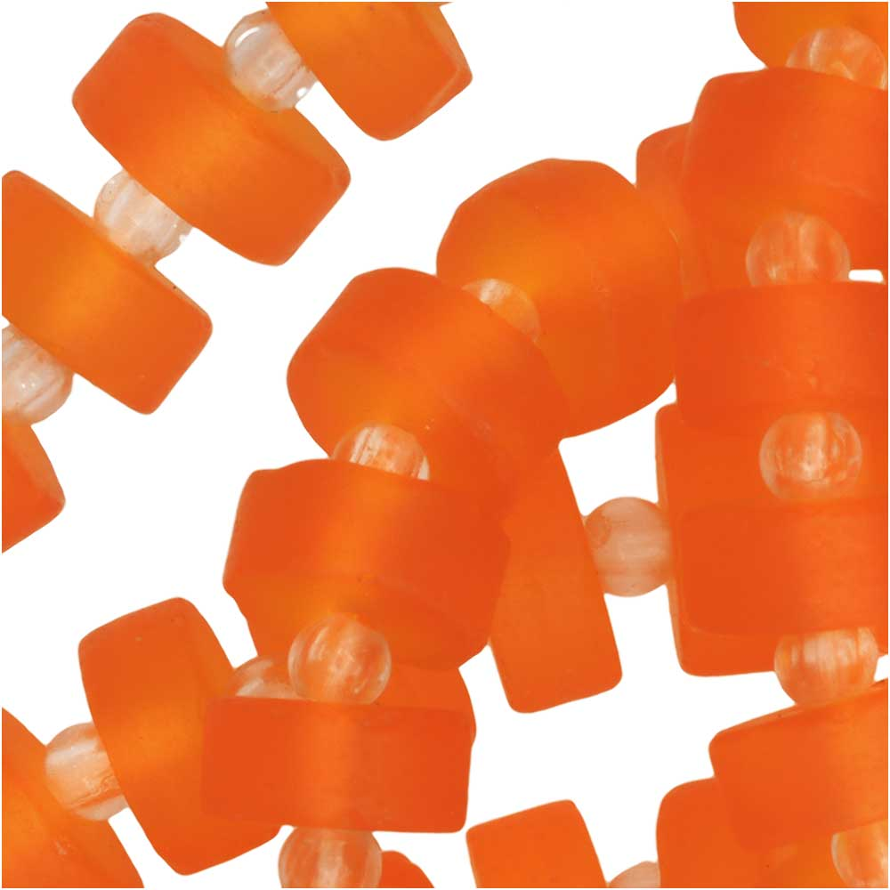 Cultured Sea Glass, Button Heishi Spacer Beads 9mm, 36 Pieces, Orange