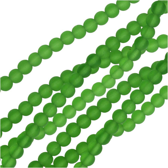 Cultured Sea Glass, Round Beads 4mm, 45 Pieces, Green