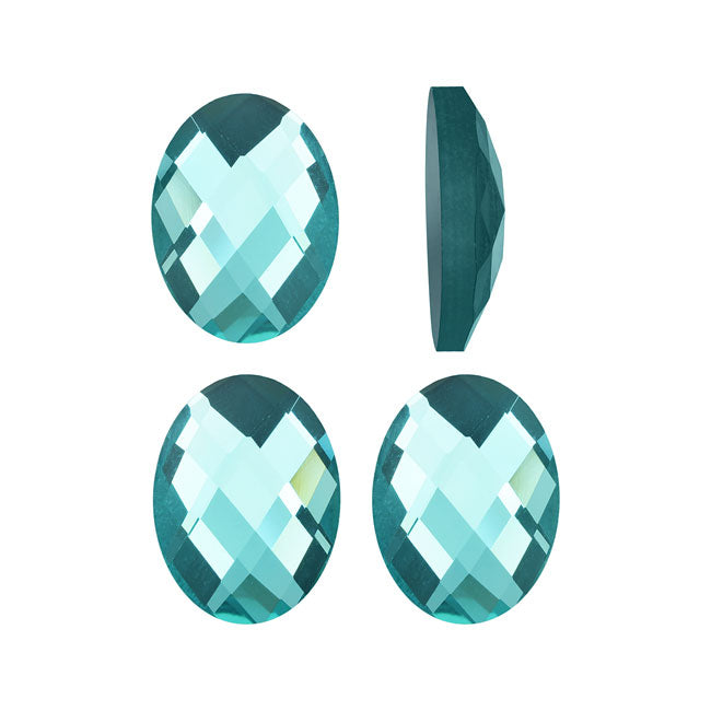 Mirror Flat Back Glass Cabochons, 10x14mm Faceted Ovals, 4 Pieces, Aquamarine