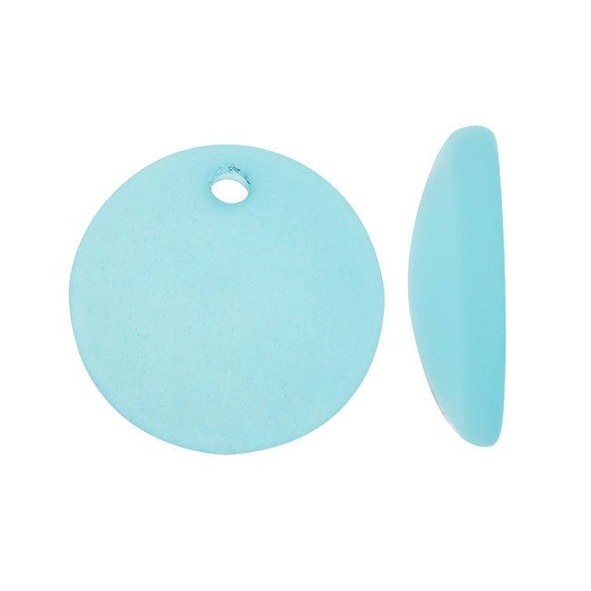 Cultured Sea Glass, Concave Coin Pendants / Bottle Bottoms 18mm, 2 Pieces, Aqua Blue