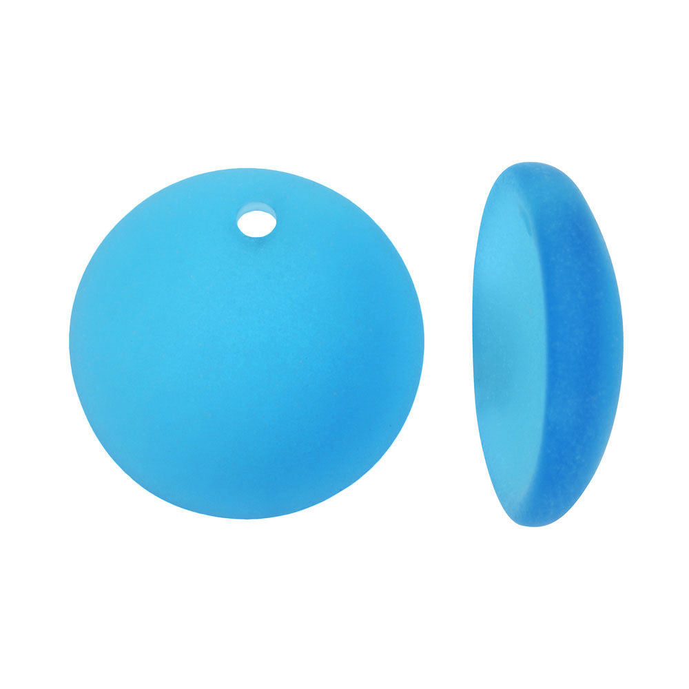 Cultured Sea Glass, Concave Coin Pendants / Bottle Bottoms 18mm, 2 Pieces, Pacific Blue