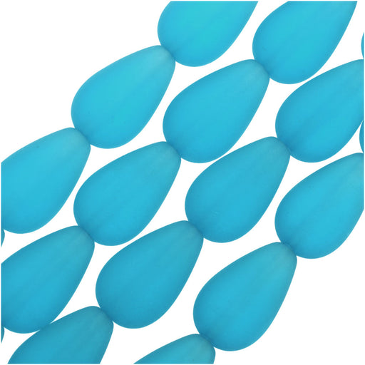 Cultured Sea Glass, Round Teardrop Beads 16x10mm, 6 Pieces, Pacific Blue