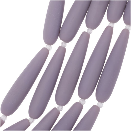 Cultured Sea Glass, Long Teardrop Beads 38x9mm, 5 Pieces, Opaque Purple