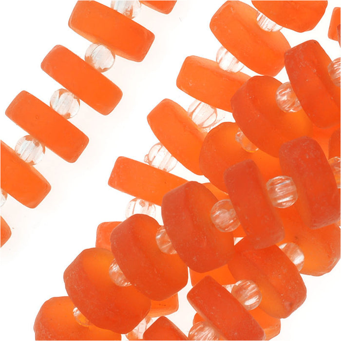 Cultured Sea Glass, Button Heishi Spacer Beads 9mm, 36 Pieces, Tangerine Orange