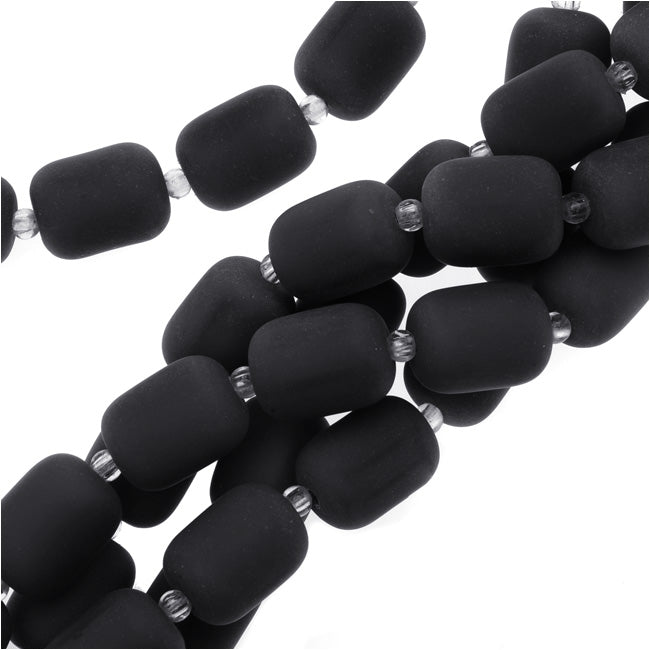 Cultured Sea Glass, Barrel Nugget Beads 13x10mm, 13 Pieces, Jet Black