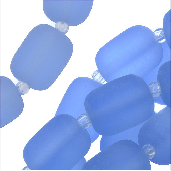 Cultured Sea Glass, Barrel Nugget Beads 13x10mm, 13 Pieces, Light Sapphire