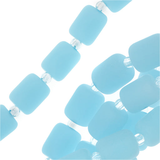 Cultured Sea Glass, Barrel Nugget Beads 10x8mm, 17 Pieces, Opaque Aqua Blue