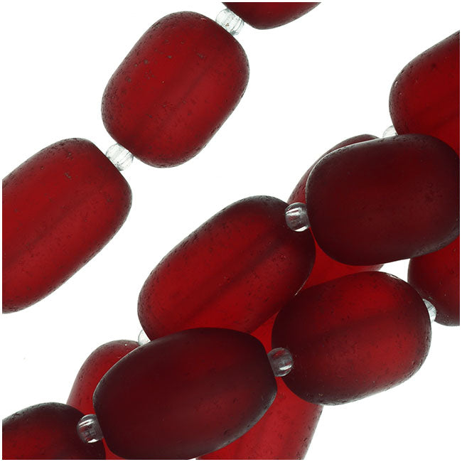 Cultured Sea Glass, Semi Freeform Nugget Beads 16-20x12mm, 1 Strand, Cherry Red