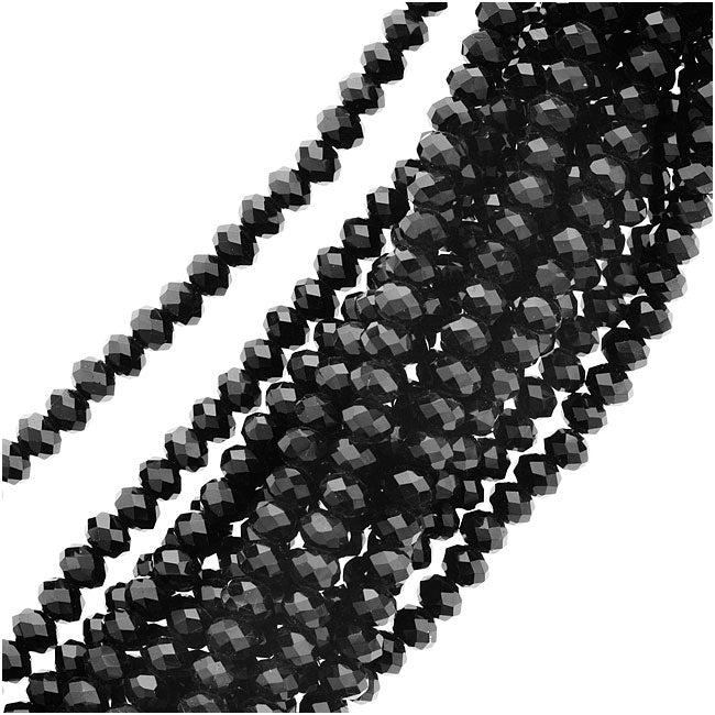 Jet Black Glass Faceted Rondelle Beads 3x4mm (19 Inch Strand)