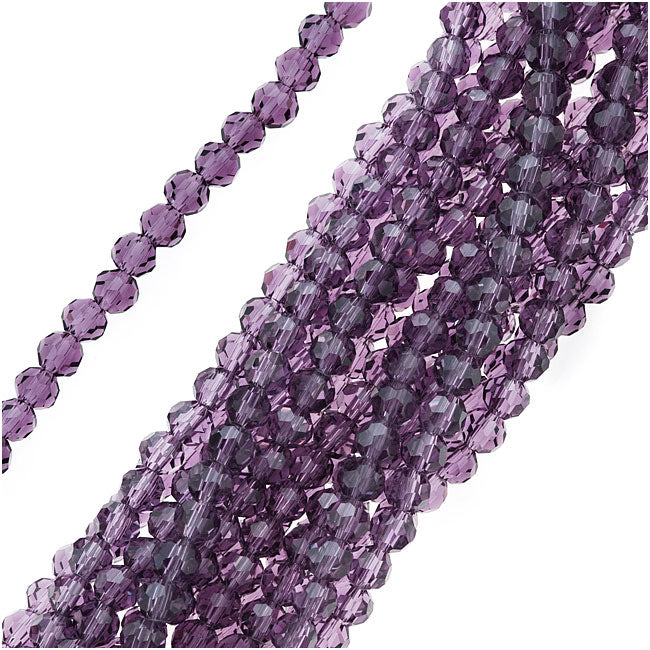 Glass Beads, Faceted Round 4mm, 14.5 Inch Strand, Amethyst Purple