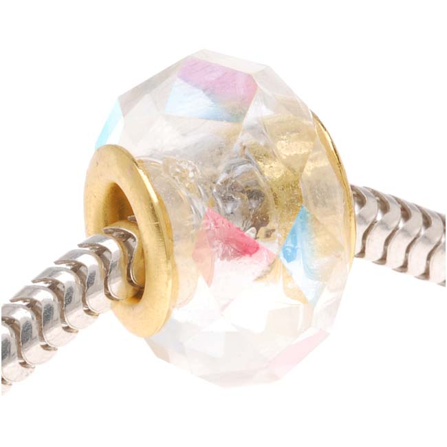 Faceted Glass European Style Large Hole Bead - Crystal AB 14mm Gold Tone Grommet (1)