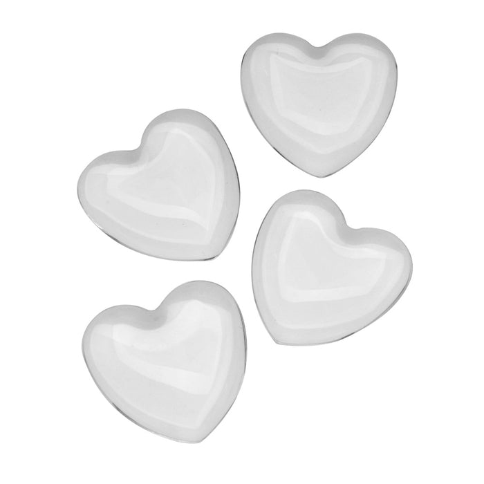 Clear Glass Cabochon Heart 25mm, 4 Pieces
