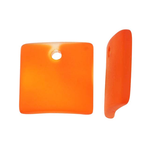 Cultured Sea Glass, Curved Square Pendants 22x22mm, 2 Pieces, Tangerine Orange