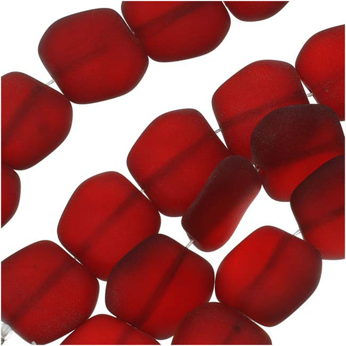 Cultured Sea Glass, Square Nugget Beads 18x17mm, 6 Pieces, Dark Cherry Red