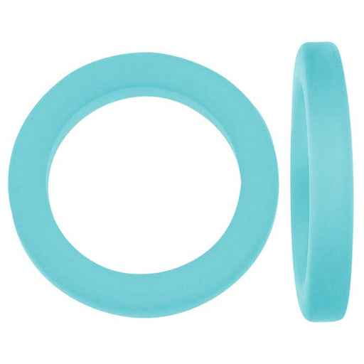 Cultured Sea Glass, Donut Ring Beads 27mm, 2 Pieces, Pacific Blue