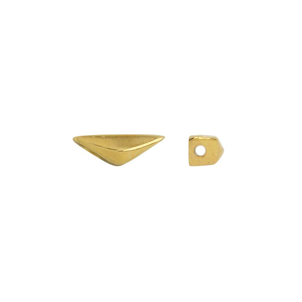 Cymbal Side Beads for GemDuo Beads, Kanvana Half Diamond 7.5x3mm, 4 Pieces, 24k Gold Plated