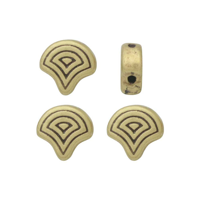 Cymbal Beads Substitute for Ginko Beads, Vlasios, 2-Hole 7.5x7mm, 4 Pieces, Antiqued Brass Plated