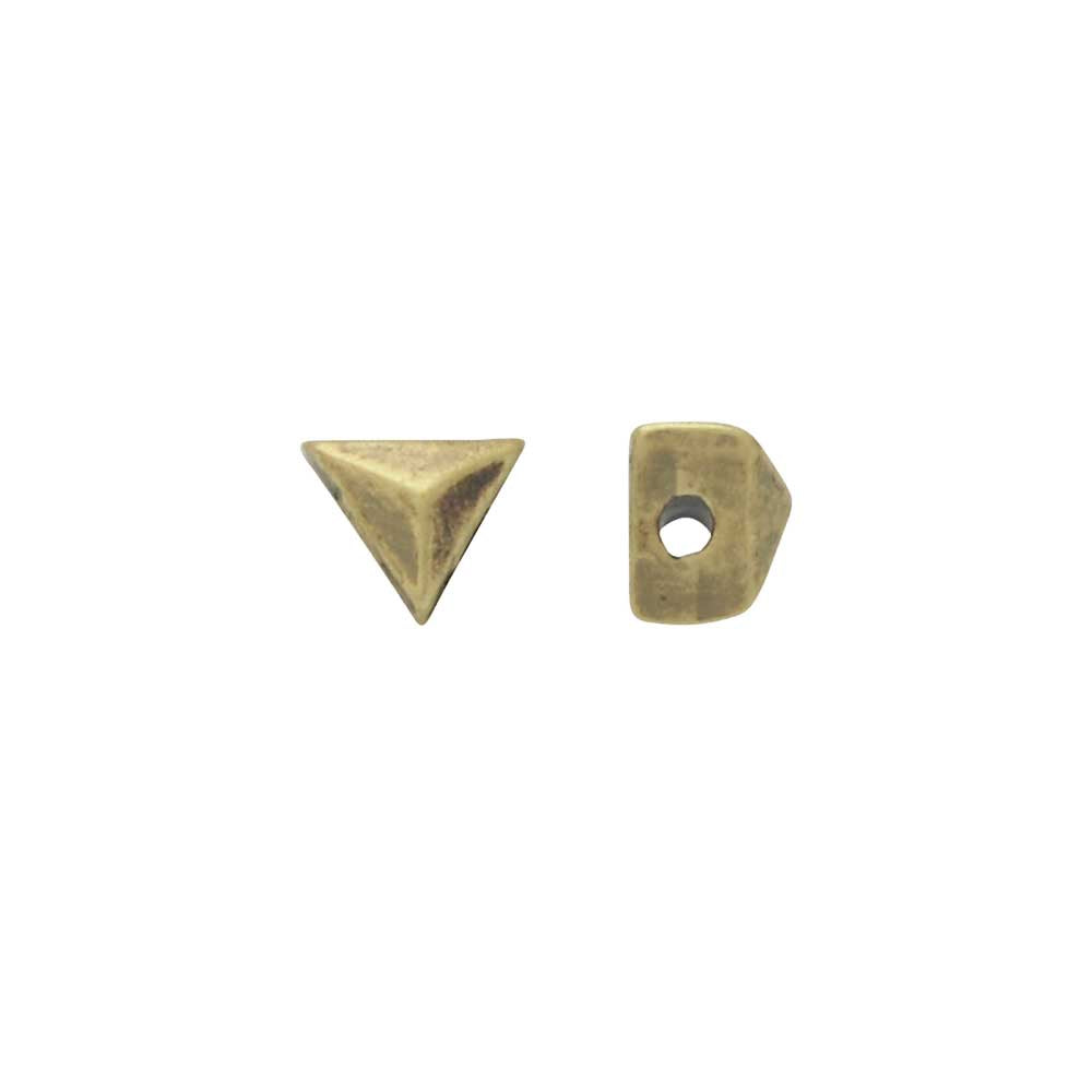 Cymbal Side Beads for GemDuo Beads, Embourios, Triangle Shaped 3x3.5mm, 4 Pieces, Antiqued Brass Plated