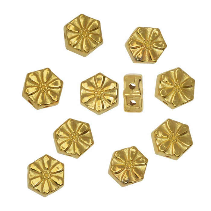 Cymbal Bead Substitute for Honeycomb Beads, Stelida, 2-Hole Hexagon, Flower, 10 Pc, 24K Gold Plated