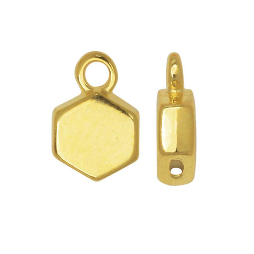 Cymbal Bead Substitute for Honeycomb Beads, Maragas, Hexagon, Loop 6mm, 4 Pieces, 24K Gold Plt