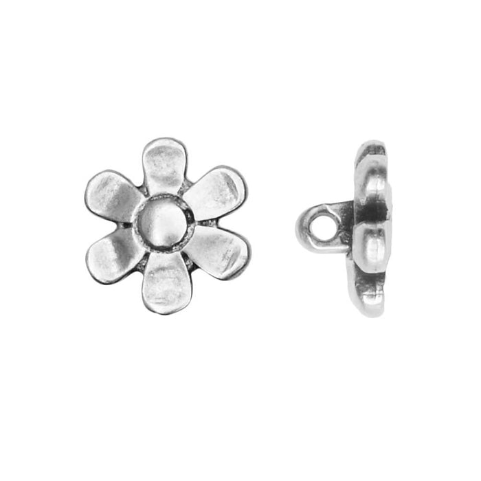 Cymbal Bead Substitute for 11/0 Delica & Round Seed Beads, Gerani, Flower, 4 Pc, Ant. Silver Plated