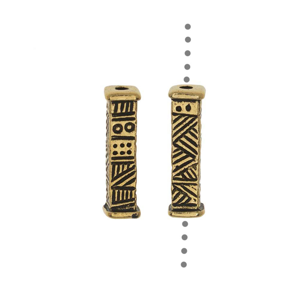 TierraCast Pewter Beads, Long Ethnic Design 15.5x4mm, 2 Pieces, Antiqued Gold Plated