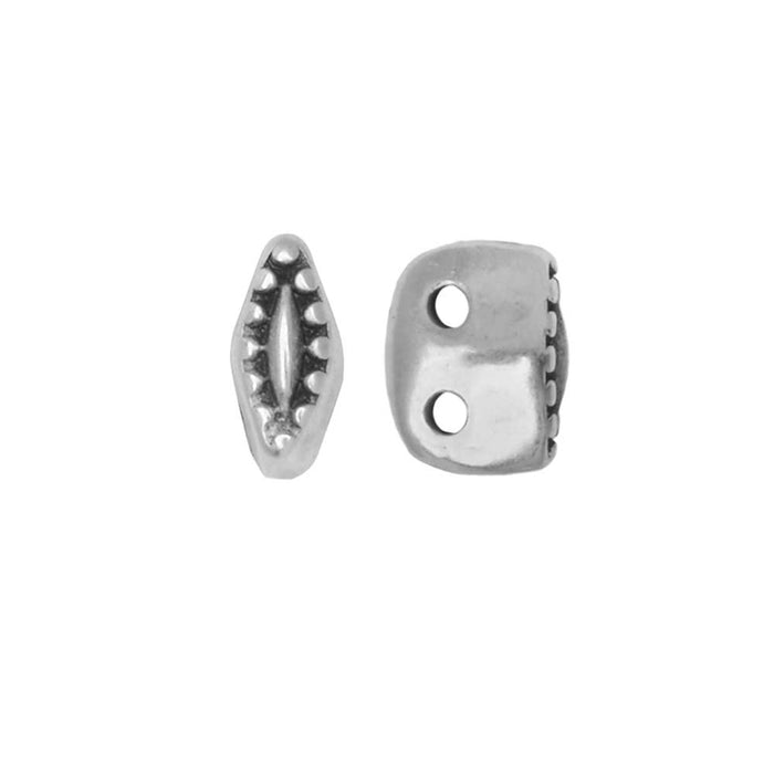 Cymbal Bead Substitute for SuperDuo Beads, Varidi, 2-Hole 5x2mm, 10 Pieces, Antiqued Silver Plated