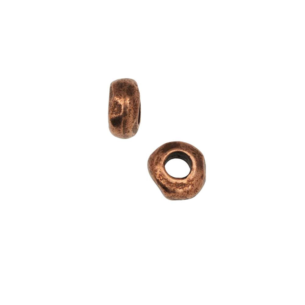 Metal Bead, Organic Round Spacer 5mm, Antiqued Copper, 2 Pieces, by Nunn Design