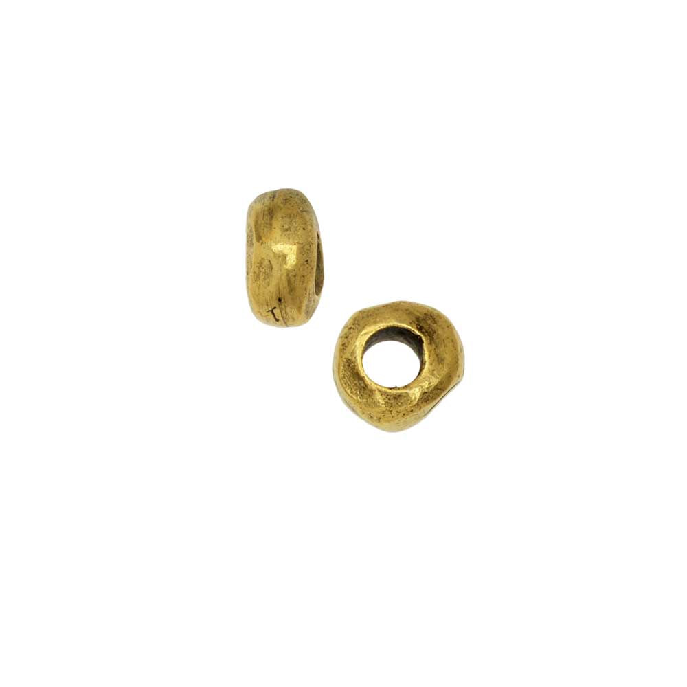 Metal Bead, Organic Round Spacer 5mm, Antiqued Gold, 2 Pieces, by Nunn Design