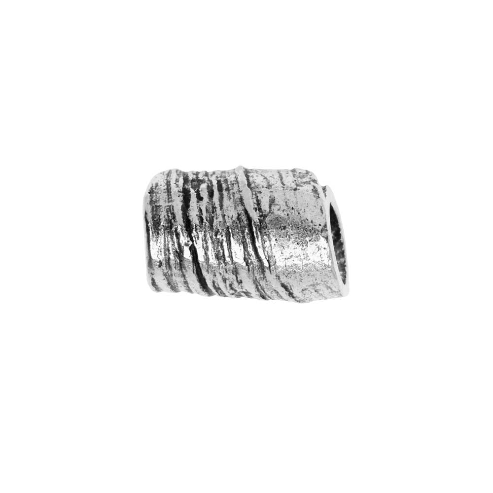Metal Bead, Rolled Tube 12mm, Antiqued Silver, 1 Piece, by Nunn Design