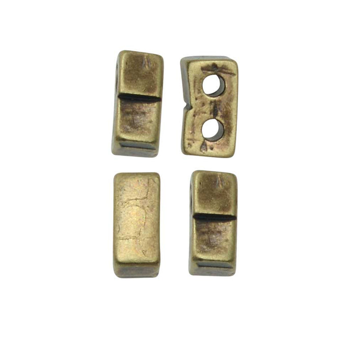 Cymbal Bead Substitute for Half Tila Beads, Klouvas, 2-Hole Rectangle, 12 Pc, Ant. Brass Plated