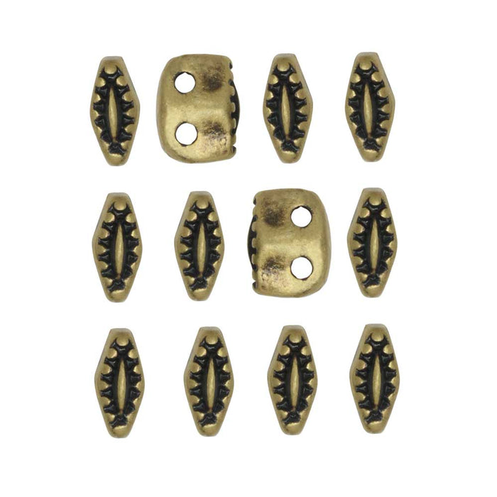 Cymbal Bead Substitute for SuperDuo Beads, Varidi, 2-Hole 5x2mm, 10 Pieces, Antiqued Brass Plated