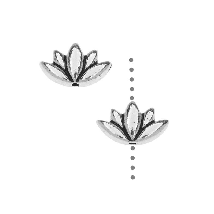 TierraCast Pewter Beads, Lotus Flower Design 7x11.5mm, 2 Pieces, Antiqued Silver Plated